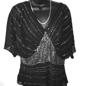 Vintage Spiegel Chiffon and Sequin Party Top